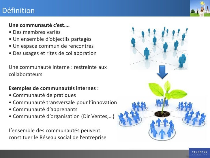 Définition  Une communauté c'est….  • Des membres variés  • Un ensemble d'objectifs partagés  • Un espace commun de rencon...
