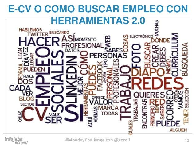 12 E-CV O COMO BUSCAR EMPLEO CON HERRAMIENTAS 2.0 #MondayChallenge con @goroji