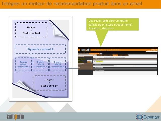 Intégrer un moteur de recommandation produit dans un email  Une seule règle dans Compario utilisée pour le web et pour l'e...