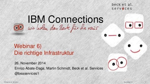IBM Connections  Webinar 6)  Die richtige Infrastruktur  26. November 2014  Enrico Abate-Daga, Martin Schmidt, Beck et al....