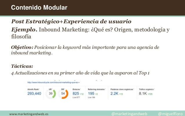 www.marketingandweb.es @marketingandweb @miguelfloro Post Estratégico+Experiencia de usuario Ejemplo. Inbound Marketing: ¿...