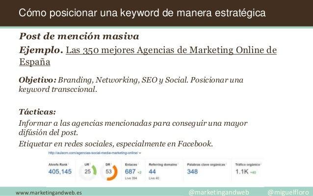 www.marketingandweb.es @marketingandweb @miguelfloro Cómo posicionar una keyword de manera estratégica Post de mención mas...