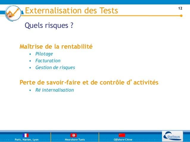Externalisation des Tests                             12       Quels risques ?   Maîtrise de la rentabilité           • P...