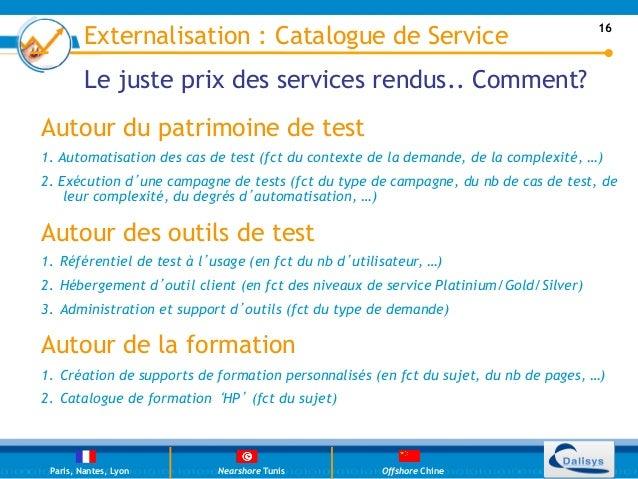 Externalisation : Catalogue de Service                                        16         Le juste prix des services rendus...