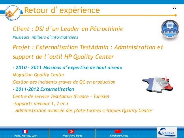 Retour d'expérience                                           27Client : DSI d'un Leader en PétrochimiePlusieurs milliers ...