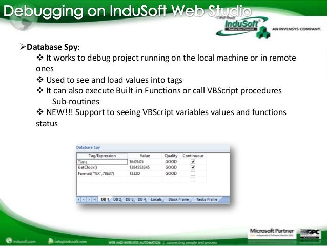 Debugging VBScript in InduSoft Web Studio Projects