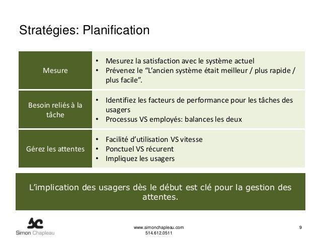 Stratégies: Planification                      • Mesurez la satisfaction avec le système actuel      Mesure          • Pré...