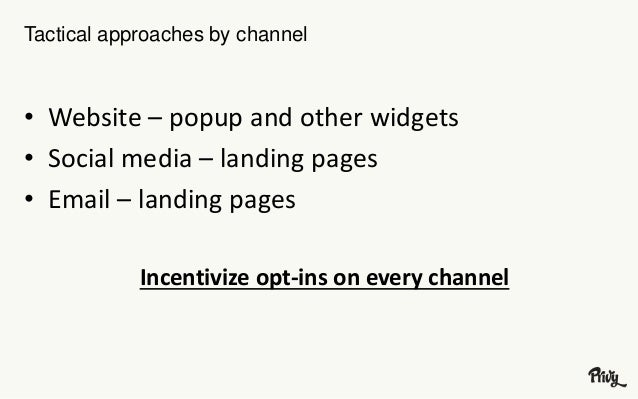 Tactical approaches by channel  • Website – popup and other widgets  • Social media – landing pages  • Email – landing pag...