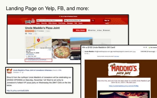 Landing Page on Yelp, FB, and more: