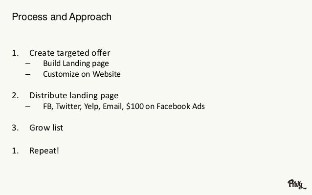 Process and Approach  1. Create targeted offer  – Build Landing page  – Customize on Website  2. Distribute landing page  ...