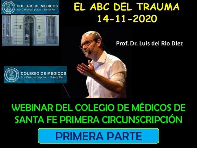 WEBINAR DEL COLEGIO DE MÉDICOS DE SANTA FE PRIMERA CIRCUNSCRIPCIÓN EL ABC DEL TRAUMA 14-11-2020 Prof. Dr. Luis del Rio Die...