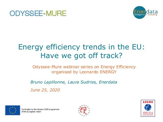Energy efficiency trends in the EU: Have we got off track? June 25, 2020 Bruno Lapillonne, Laura Sudries, Enerdata Odyssee...