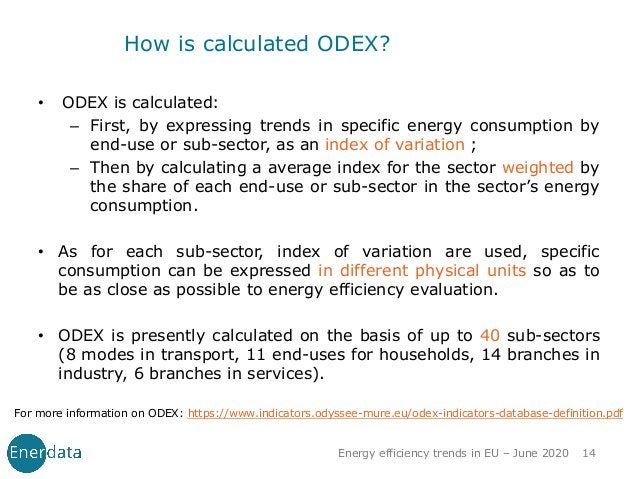 How is calculated ODEX? • ODEX is calculated: – First, by expressing trends in specific energy consumption by end-use or s...