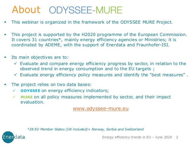 About ▪ This webinar is organized in the framework of the ODYSSEE MURE Project. ▪ This project is supported by the H2020 p...