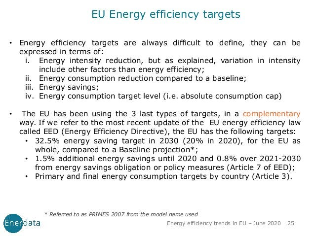 EU Energy efficiency targets * Referred to as PRIMES 2007 from the model name used • Energy efficiency targets are always ...