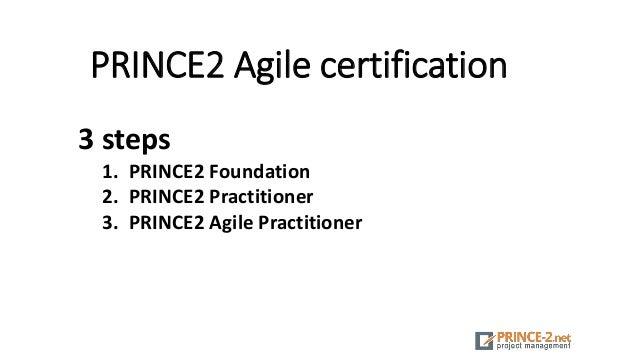 PRINCE2 Agile certification 3 steps 1. PRINCE2 Foundation 2. PRINCE2 Practitioner 3. PRINCE2 Agile Practitioner