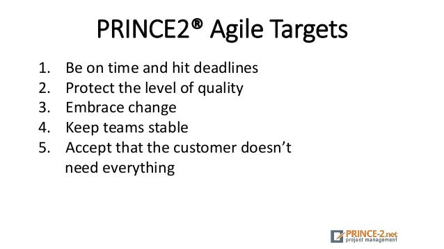 PRINCE2® Agile Targets 1. Be on time and hit deadlines 2. Protect the level of quality 3. Embrace change 4. Keep teams sta...
