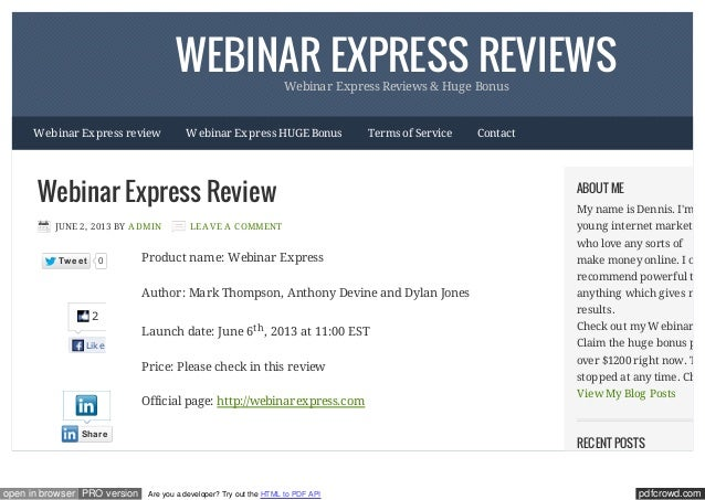 pdfcrowd.comopen in browser PRO version Are you a developer? Try out the HTML to PDF APIWEBINAR EXPRESS REVIEWSWebinar Exp...