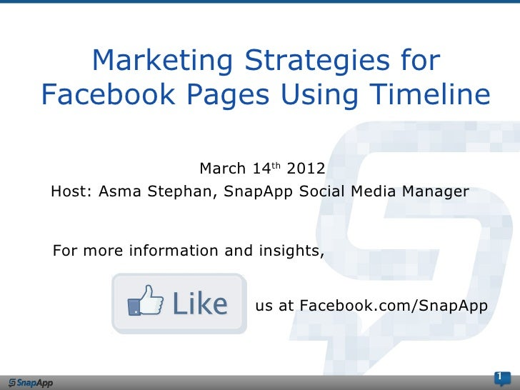 Marketing Strategies forFacebook Pages Using Timeline                 March 14th 2012Host: Asma Stephan, SnapApp Social Me...