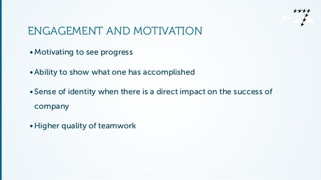 ENGAGEMENT AND MOTIVATION  • Motivating to see progress  • Ability to show what one has accomplished  • Sense of identity ...