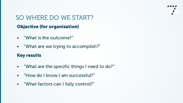 """SO WHERE DO WE START?  Objective (for organization)  • """"What is the outcome?""""  • """"What are we trying to accomplish?""""  Key ..."""