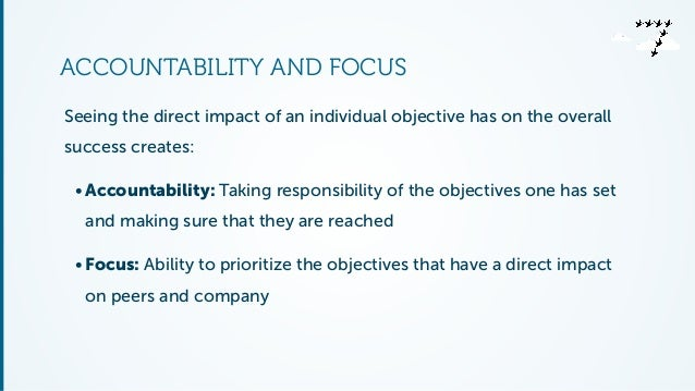 ACCOUNTABILITY AND FOCUS  Seeing the direct impact of an individual objective has on the overall  success creates:  • Acco...
