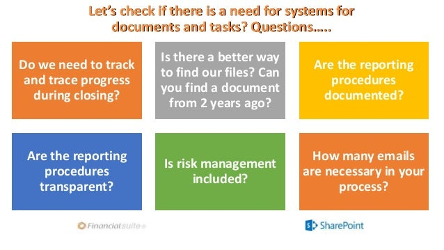 Let's check if there is a need for systems for documents and tasks? Questions….. Do we need to track and trace progress du...