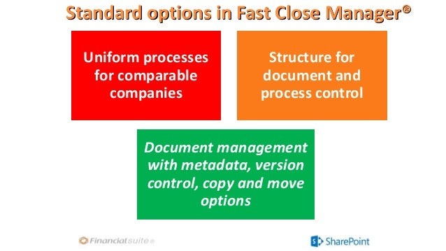 Standard options in Fast Close Manager® Uniform processes for comparable companies Structure for document and process cont...