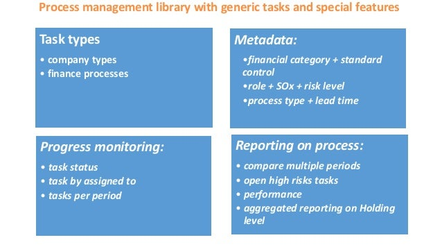 Process management library with generic tasks and special features Task types • company types • finance processes Metadata...