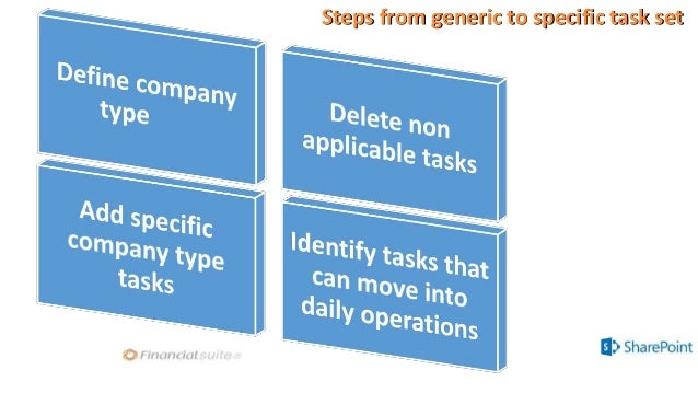 Steps from generic to specific task set