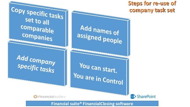Steps for re-use of company task set Financial suite® FinancialClosing software