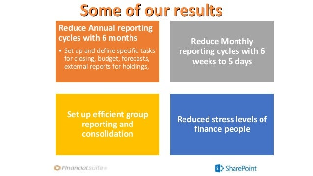Some of our results Reduce Annual reporting cycles with 6 months • Set up and define specific tasks for closing, budget, f...