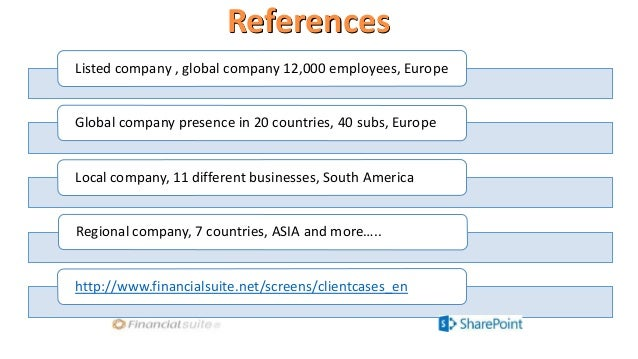 References Listed company , global company 12,000 employees, Europe Global company presence in 20 countries, 40 subs, Euro...