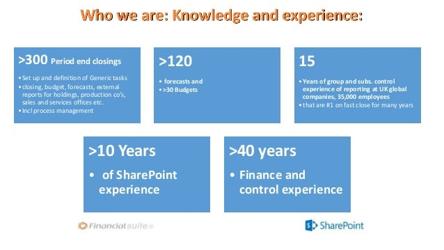 Who we are: Knowledge and experience: >300 Period end closings •Set up and definition of Generic tasks •closing, budget, f...