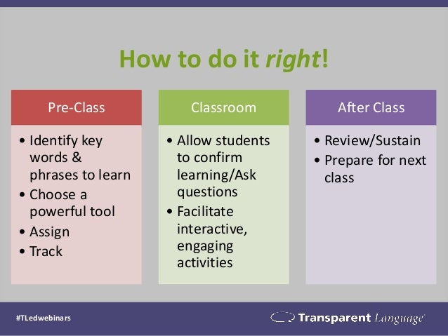 How to do it right!  Pre-Class  •Identify key words & phrases to learn  •Choose a powerful tool  •Assign  •Track  Classroo...