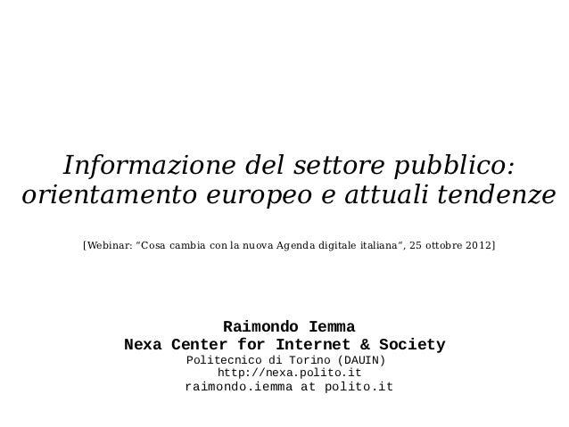 """Informazione del settore pubblico:orientamento europeo e attuali tendenze    [Webinar: """"Cosa cambia con la nuova Agenda di..."""
