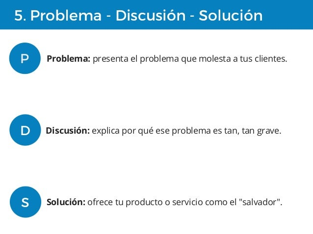 5. Problema - Discusión - Solución P Problema: presenta el problema que molesta a tus clientes. D Discusión: explica por q...