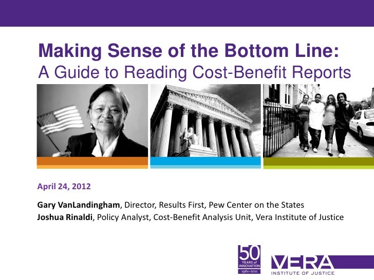 Making Sense of the Bottom Line:A Guide to Reading Cost-Benefit ReportsApril 24, 2012Gary VanLandingham, Director, Results...