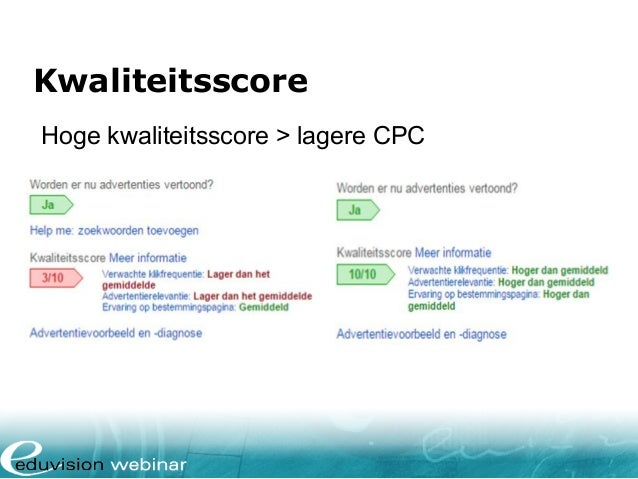 Kwaliteitsscore Hoge kwaliteitsscore > lagere CPC