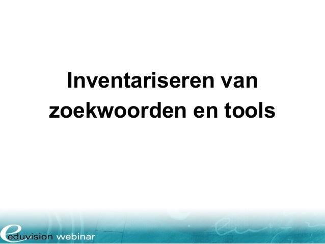 Inventariseren van zoekwoorden en tools