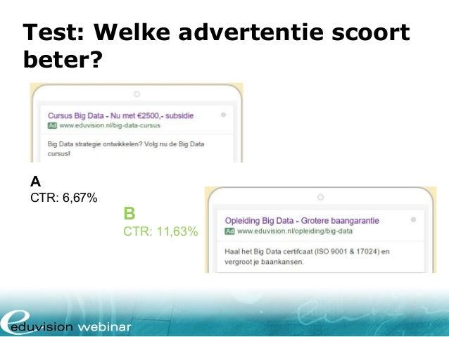 Test: Welke advertentie scoort beter? A CTR: 6,67% B CTR: 11,63%