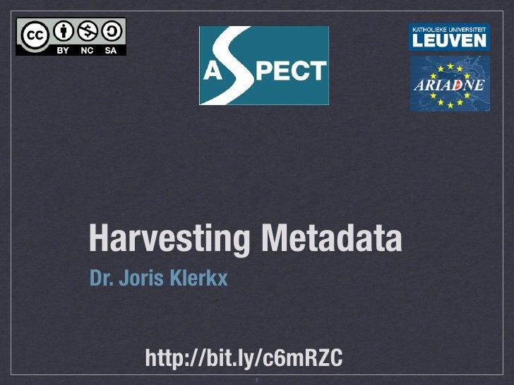 Harvesting metadata - ASPECT webinar