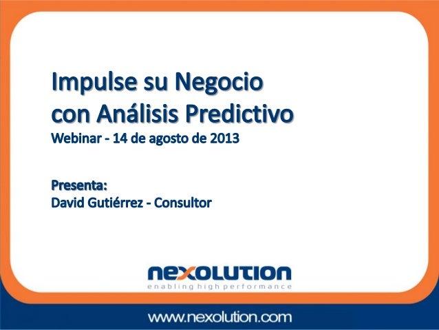 • Que es el análisis predictivo • El proceso predictivo • Metodología CRISP-DM • Objetivos y Áreas de Negocio • Funcionami...