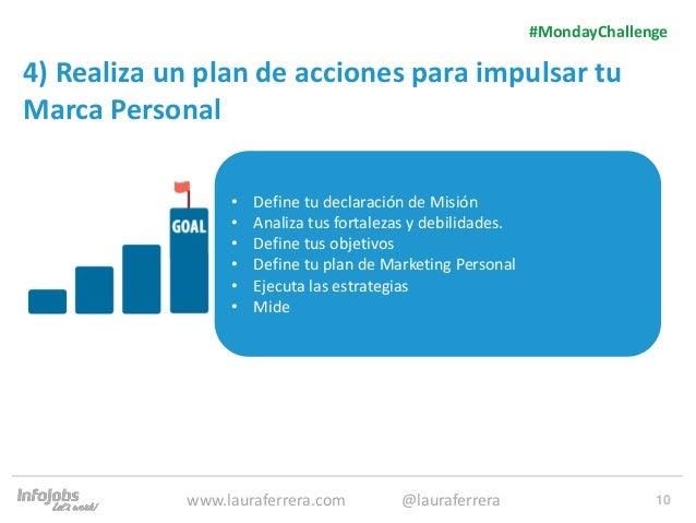 10 4) Realiza un plan de acciones para impulsar tu Marca Personal 1. Texto 2. Texto #MondayChallenge www.lauraferrera.com ...