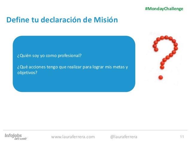 11 Define tu declaración de Misión 1. Texto 2. Texto #MondayChallenge www.lauraferrera.com @lauraferrera ¿Quién soy yo com...