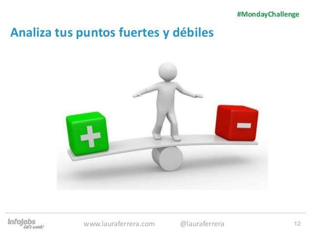 12 Analiza tus puntos fuertes y débiles 1. Texto 2. Texto #MondayChallenge www.lauraferrera.com @lauraferrera