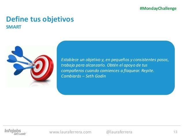 13 Define tus objetivos SMART 1. Texto 2. Texto #MondayChallenge www.lauraferrera.com @lauraferrera Establece un objetivo ...