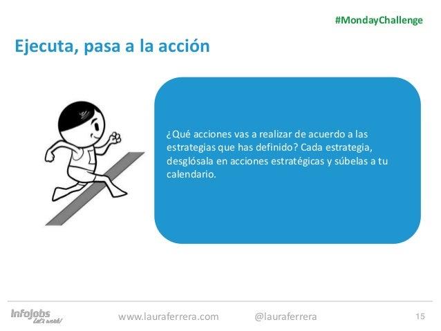 15 Ejecuta, pasa a la acción 1. Texto 2. Texto #MondayChallenge www.lauraferrera.com @lauraferrera ¿Qué acciones vas a rea...