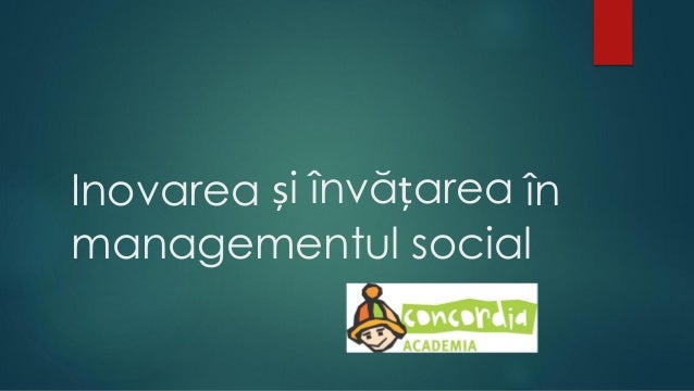 Inovarea și învățarea în managementul social