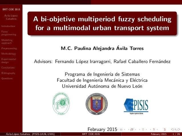 BRT COE 2015 ´Avila-L´opez- Caballero Introduction Fuzzy programming Modelling approach Preprocessing Methodology Experime...